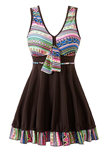 COCOPEAR Women's Tribal Print One Piece Swimdress Skirted Bottom Swimsuit(FBA) SaddleBrown 2XL/10-12