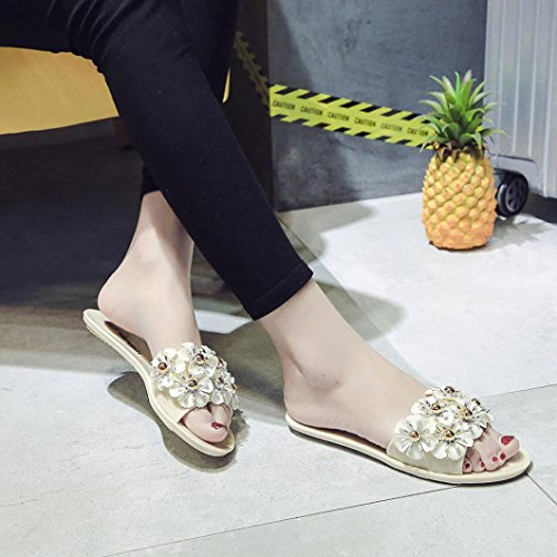 VEMOW 2018 Spring and Summer New Shoes for Ladies Summer Beach Bohemian Flat Sandals Platform Slippers Casual Wedge Flats Flip Flops Women Ladies Girls School Sport Party Club Dancer Beach Shoes Beige 6pAjN5A