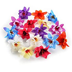 Flower heads in bulk wholesale for Crafts Mini Silk Orchid Artificial Flower Head Wedding Home Decoration Real Touch Orchis Cymbidium Fake Flowers Plants Party Birthday Decor 30pcs 6cm 77