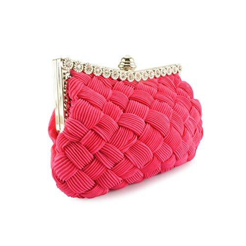 Handbag Cocktail Evening Evening Party Wit Shoulder amp; and Pleated Wedding Rosered Bag Braided Fit Bag Womens Clutch Purse qqUzwP78r