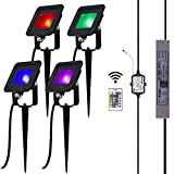 10W DC 12V RGB LED Flood Light Kit incl Colors Changing Remote Controller, Power Supply and Extension Cables for Outdoor Landscape Lighting (Pack of 4, Multiple RGB Colors)