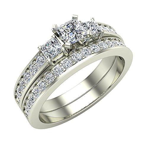 Past Present Future Princess Cut Diamonds 3 stone Accent Round Diamonds Wedding Ring Set 1.06 carat total weight 14K White Gold (Ring Size 9)