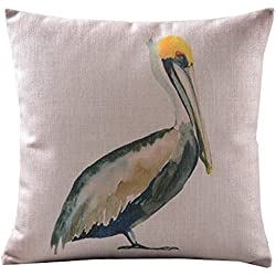 CoolDream Home Decor Sofa Cotton Linen Pelicans Throw Pillow Cover