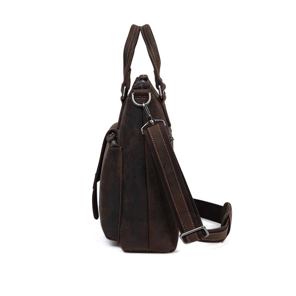 Color : Brown Mens Messenger Bag Mens Leather Satchel Business Briefcase Vintage Style Messenger Shoulder Tote Bag Handbag for 15 inch Laptop