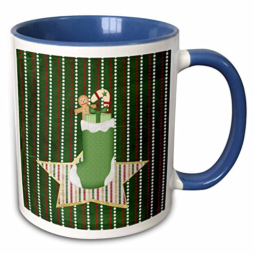 3dRose Beverly Turner Christmas Design - Stocking Filled with Gingerbread boy, Candy Cane, and Present on Star - 15oz Two-Tone Blue Mug ()