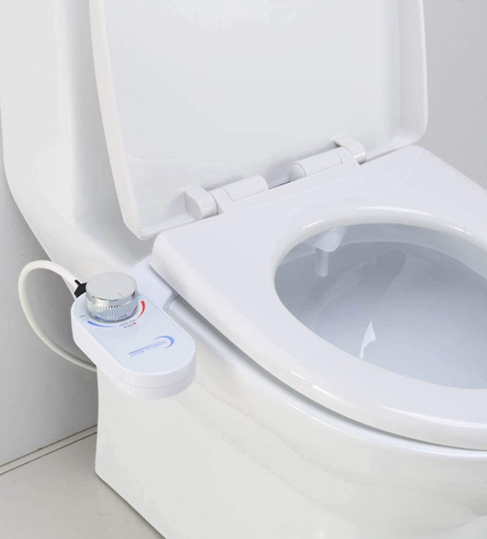 Hot and Cold Water Non-Electric Mechanical Bidet Toilet Attachment Self Cleaning Dual Nozzles
