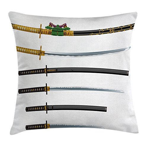 Pillow Cushion Cover by Ambesonne, Set of Curved Slender Single-Edged Blade Japanese Swords Katana Guard Image, Decorative Square Accent Pillow Case, 18 X18 Inches, Gold Black (Woven Blade Set)
