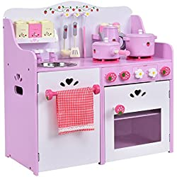"""Costzon Kids Kitchen Playset, Wooden Cookware Pretend Cooking Food Set Toddler Gift Toy (24.4"""" Height, Pink)"""