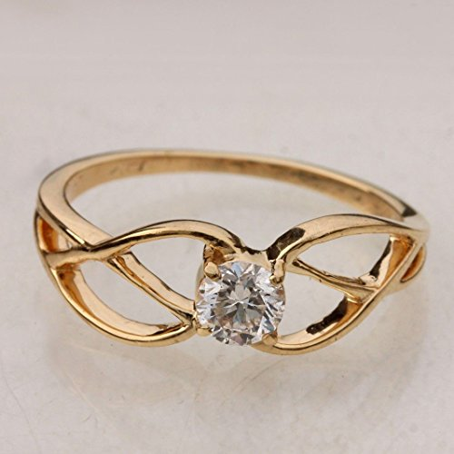 - Handmade Criss Cross Solitaire Ring Diamond Solid 18k Yellow Gold Fine Jewelry
