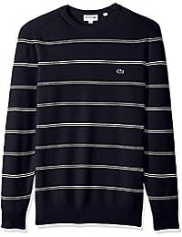 Men's Long Sleeve Stripes Half Cardigan Rib Sweater, AH4548