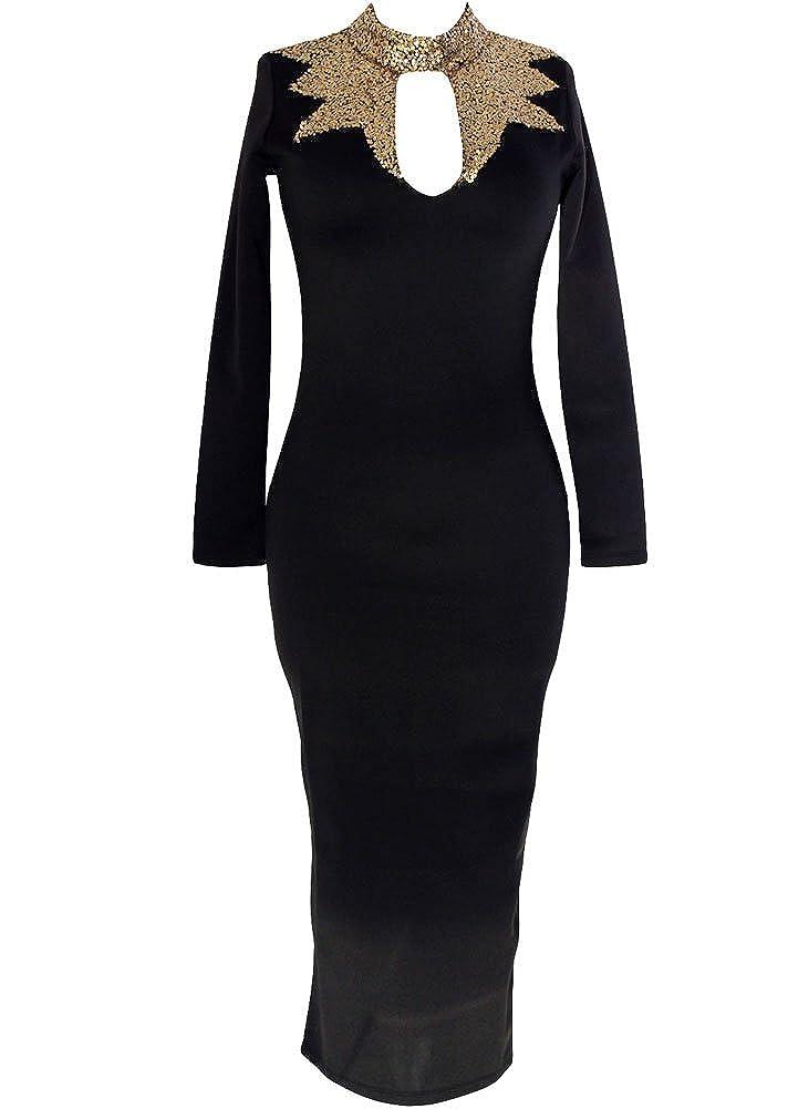 Graceful Ladies Black Gold Sequins Mock Neck Long Sleeves Midi Evening Dress (M, Black): Amazon.co.uk: Clothing