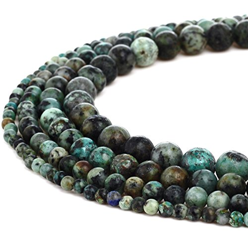 RUBYCA Natural African Turquoise Gemstone Round Loose Beads for DIY Jewelry Making 1 Strand - 8mm