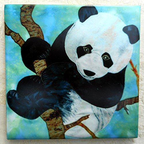 Decorative Ceramic Tile Coaster, Giant Panda Bear Art, Birthday Housewarming Gift for Panda Lover