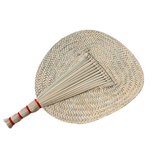 ZiNingBel Purely Hand-Raffia Fans-Made Straw Fan,Summer Natural Hand Rocker Fan for The Aged