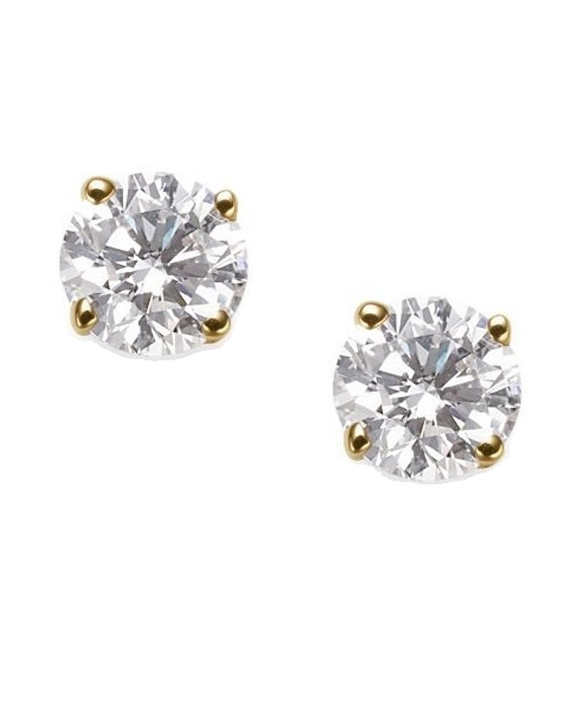 Round Cut Clear CZ 14K Yellow Gold Basket Set Screw Back Stud Earrings 6mm