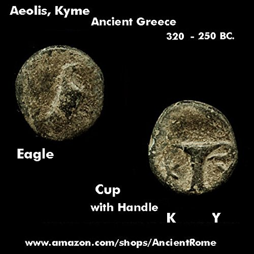 350 Eagle (350 BC. Eagle / Drinking Cup with Handle. Aeolis, Kyme. Ancient Greek Coin. Unique Gift - Novelty)