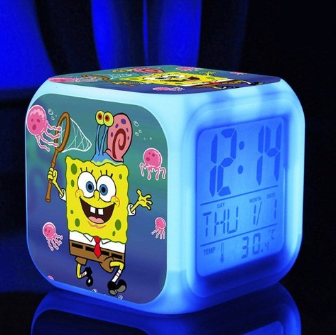 SpongeBob SquarePant Patrick Star Digital Alarm Desktop Clock with 7 Changing LED Clock Colorful Toys for Kids (Style 9)