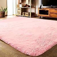 LOCHAS Alfombras suaves y modernas para interiores Alfombras mullidas de sala de estar Adecuadas para niños Dormitorio Decoración Alfombras de guardería 4 pies por 5.3 pies (rosa)