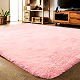 princess bedroom ideas LOCHAS Soft Indoor Modern Area Rugs Fluffy Living Room Carpets Suitable for Children Bedroom Decor Nursery Rugs 4 Feet by 5.3 Feet (Pink)