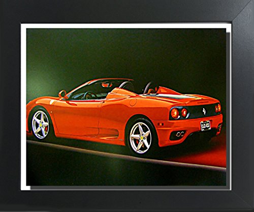 Impact Posters Gallery Red Ferrari 360 Modena Spider Sports Car Contemporary Black Framed Art Print Picture (360 Spider Ferrari Modena)