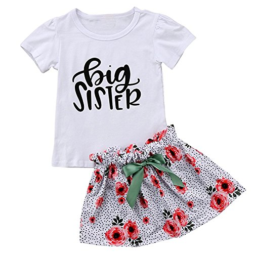 LucyGugo 2PCS Toddler Baby Girls Summer Outfits Big Sister T-Shirt + Floral Skirt with Bowknot Clothes Set (White, 2-3 Years) - Future Toddler T-shirt