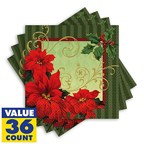 Vintage Poinsettia Dinner Napkins Christmas Party Tableware (36 Pieces), Red/Green, 8'' x 8''.