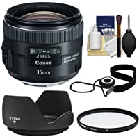 Canon EF 35mm f/2 IS USM Lens with UV Filter + Hood + Cap Keeper + Cleaning Kit for EOS 6D, 70D, 5D Mark II III, Rebel T3, T3i, T4i, T5, T5i, SL1 DSLR Cameras