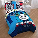 5 Piece Kids Thomas & Friends Themed Comforter Full Set, Cute Face Thomas Train Engine Cartoon Character Colorful Pattern, Child Animated Printed Reversible Bedding, Vibrant Colors Blue Multi