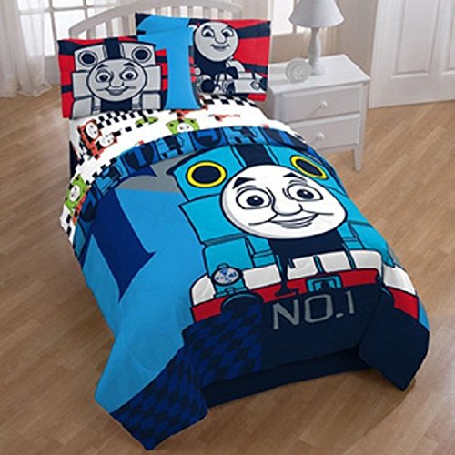 4 Piece Kids Thomas & Friends Themed Comforter Twin Set, Cute Face Thomas Train Engine Cartoon Character Colorful Pattern, Child Animated Printed Reversible Bedding, Vibrant Colors Blue Multi
