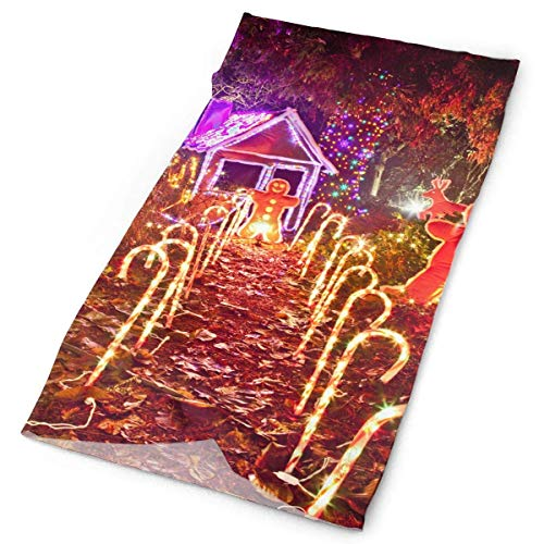 Christmas Light Display of Gingerbread House Original Headband with Multi-Function Sports and Leisure Headwear UV Protection Sports Neck, Sweat-Absorbent Microfiber Running, Yoga, Hiking