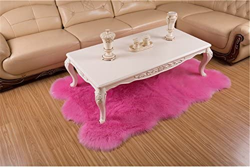 Deluxe Super Soft Fluffy Shaggy Home Decor Faux Sheepskin Silky Rug for Bedroom Floor Sofa Chair,Chair Cover Seat Pad Couch Pad Area Carpet,6ft x 8ft,Pink