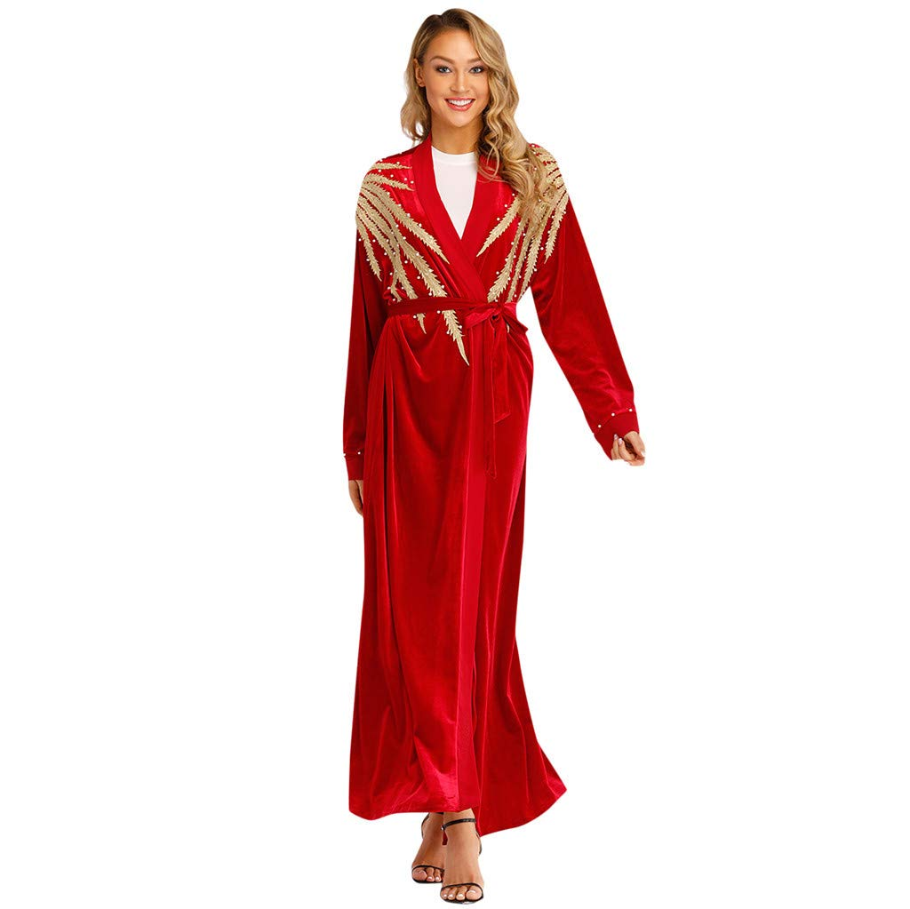 Mysky Women Popular Noble National Style Pearl Pure Color Islamic Muslim Long Open Kaftan Cardigan Robes with Belt Red