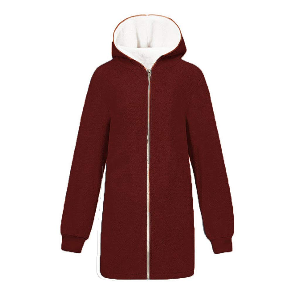 aihihe Plus Size Winter Coats for Women Warm Shaggy Lining Solid Oversized Fluffy Hooded Coats Jackets Outerwear Parka Wine by aihihe Outerwear
