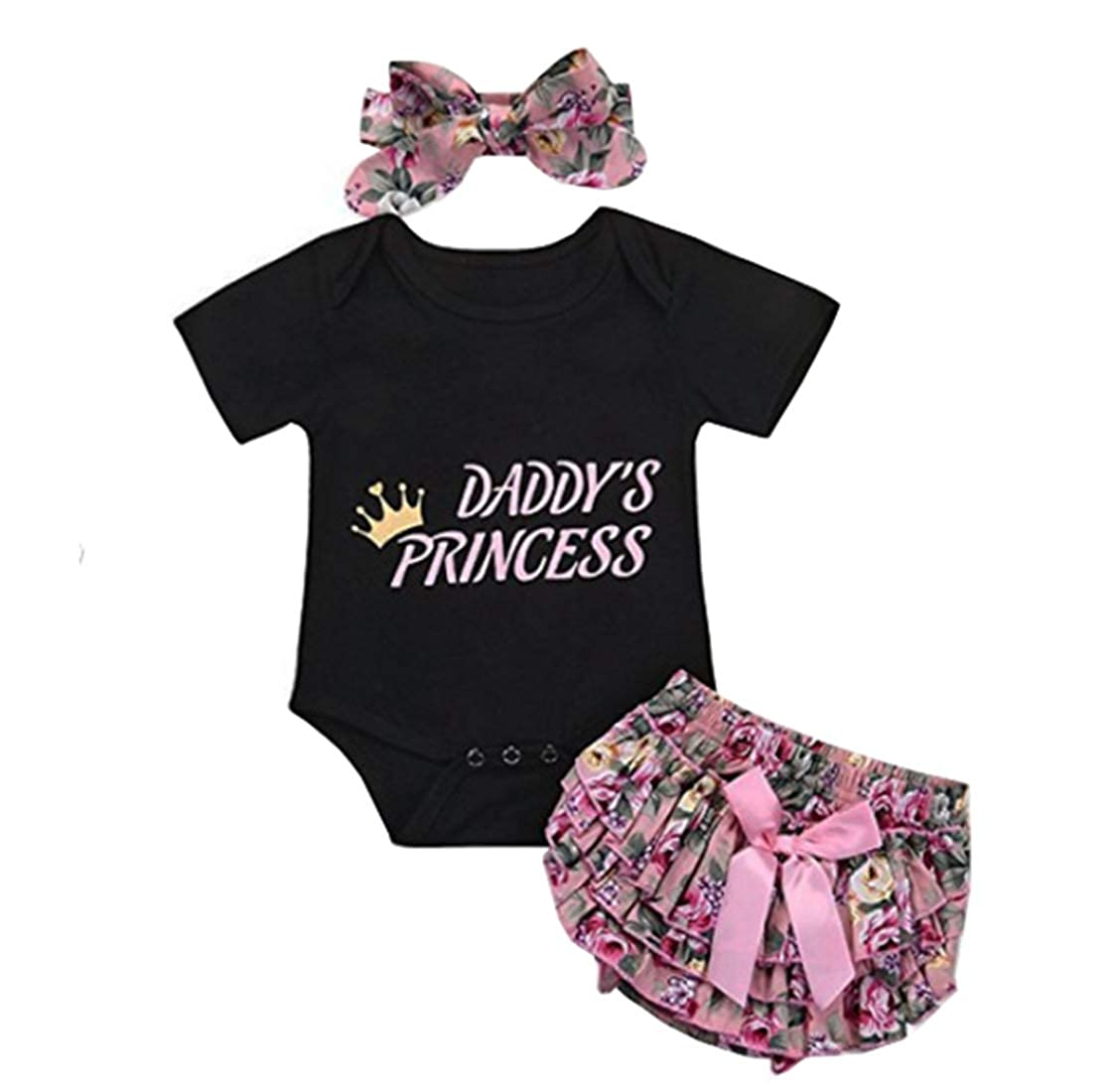 HUHUXXYY Toddler Baby Girls Short Sleeve Cotton Snap Romper+Panty+Headband 3Pcs
