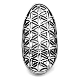 Chuvora 925 Sterling Silver Open Filigree Flower of Life Symbol 4 CM Long Large Band Ring Size 9