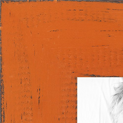 ArtToFrames 11x14 inch Weathered Barnwood in Saturated Orange Wood Picture Frame, WOMSM-ECO150-ORG-11x14
