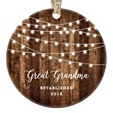 Great Grandmother Gifts, Great Grandma Christmas Ornament Established 2018, New Grandparents Nana Rustic Xmas Farmhouse Collectible Present 3'' Flat Circle Porcelain w/Gold Ribbon & Free Gift Box