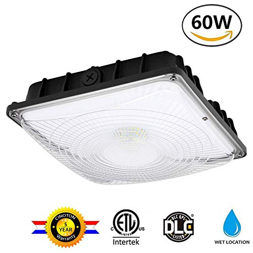 Cinoton 60W LED Canopy Light, (400-500W HPS/HID Replacement), 5000K (Crystal White Glow), 8000 Lumens, Waterproof and Outdoor Rated, DLC-Qualified