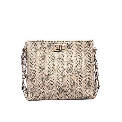 Fashion Women Simple Straw Bag-Lace Chain Messenger Bag-Lether Multiple Top Zipper Pockets Shoulder Bags Large-Backpack-Canvas Crossbody Shoulder Sling for Travel,Commuting,Hiking