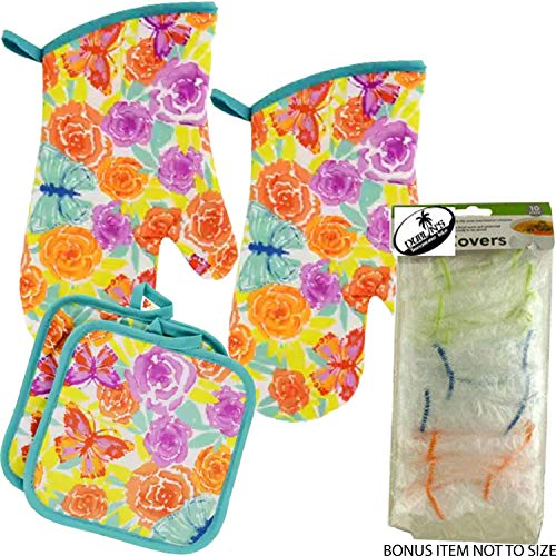 (Dublin's Treasure Isle Spring Time Vibrant Flowers and Butterflies Kitchen Oven Mitt Pot Holder Set Kitchen Linens Oven Mitt Pot Holder Pack with Food Covers (Butterflies) )