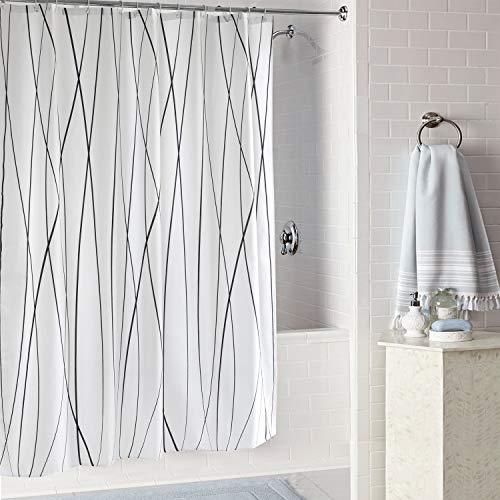 Aistuo Duschvorhänge, Duschvorhang Stoff, Anti-Schimmel, Anti-Bakteriell,Wasserdichtes Design, mit 12 Duschvorhangringen, 180 x 200 cm (Streifen)