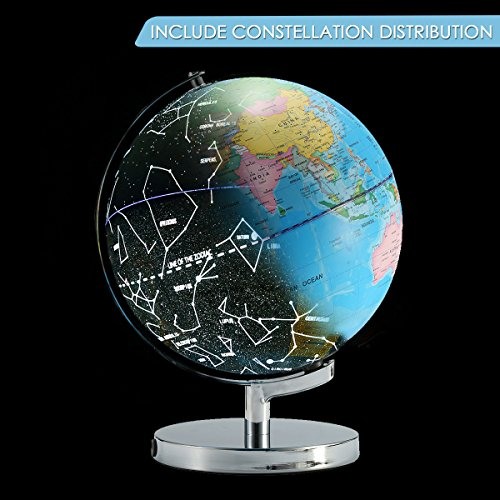 Caveen Star Globe Illuminated Globe Constellation Globes Map Educational World Globe Earth Sphere for Kids 2 in 1 Globe with USB by Caveen