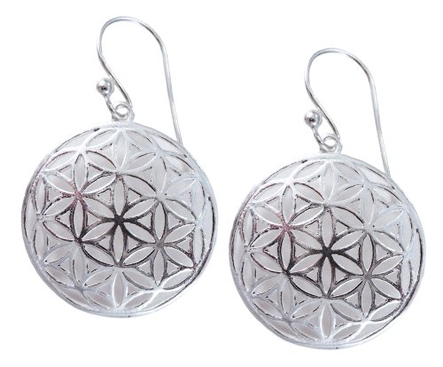 Flower of Life Sterling Silver Sacred Geometry Earrings