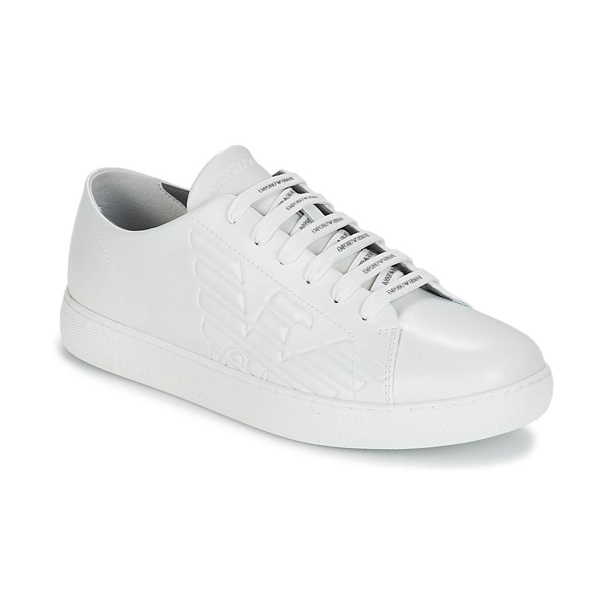 7428d3154 Amazon.com | Emporio Armani Side Logo Mens Shoes White | Fashion Sneakers