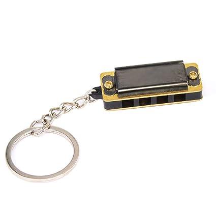 Kid Harmonica Toy Gift Mini 4 Holes 8 Tone Harmonica Keychain Key X