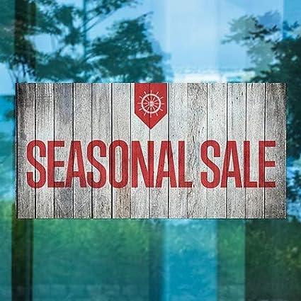 CGSignLab Seasonal Sale Nautical Wood Window Cling 24x12 5-Pack