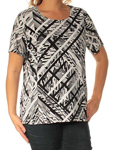 JM Collection $39 Womens New 1537 Black Printed Short Sleeve Top 0X B+B