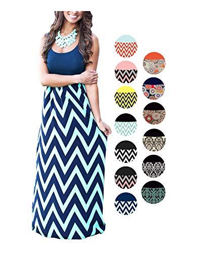 (LIYOHON Womens Summer Striped Print Loose Maxi Dress Contrast Sleeveless Tank Top Long Maxi Dresses for Women Navy S)