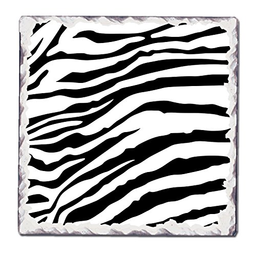 CounterArt Single Tumbled Tile Coaster, Black and White Pattern 7