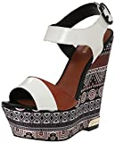 Just Cavalli Women's Africa Print Wedge Sandal, Brown, 39 EU/9 M US